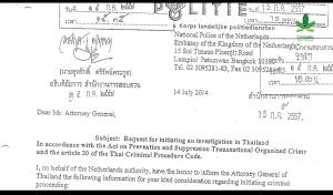 Brief KLPD aan Thaise justitie